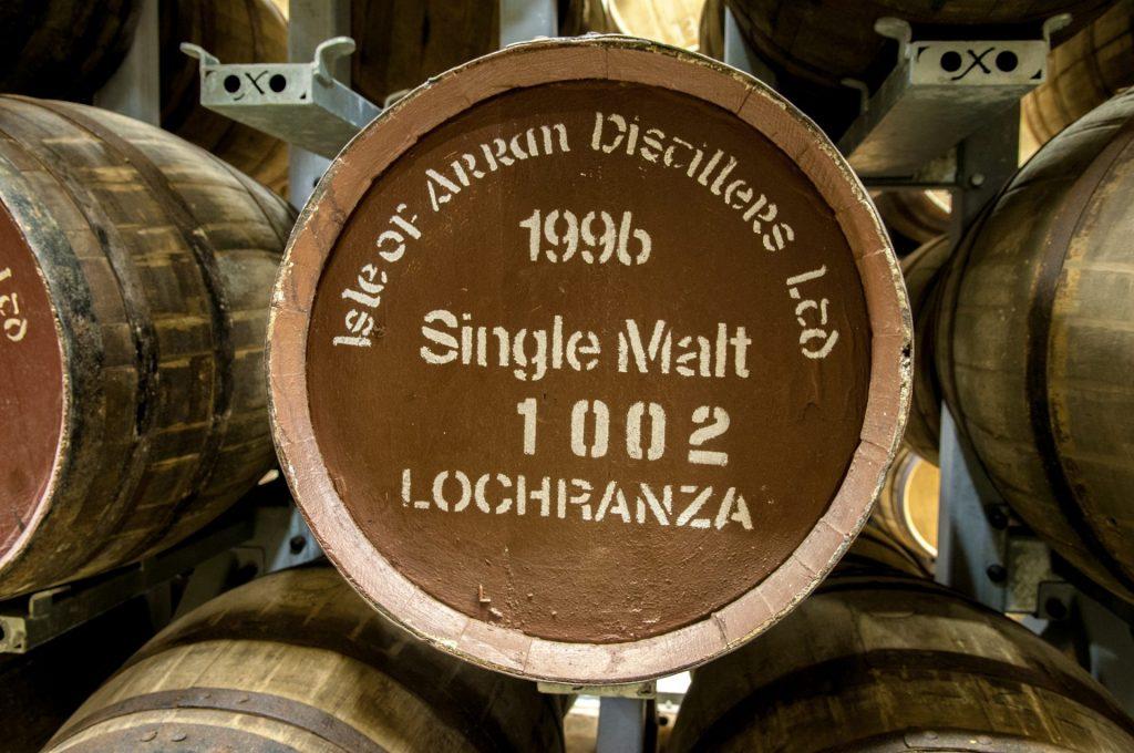 A whisky barrel at Arran Distillery